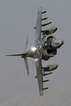 "the honour of being on the RAF Harrier Force in RAFG. This is an awesome image of a RAF Harrier ""Knife Edge"" Military Jets, Military Aircraft, Air Fighter, Fighter Jets, Royal Air Force, Jet Plane, Fighter Aircraft, War Machine, Exotic"
