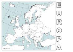 Mapa político mudo de Europa para imprimir en DIN A4