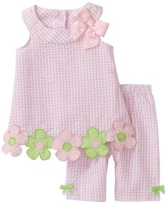 Bonnie Baby Baby Girls' Flower Applique Seersucker Capri Set, Pink, 24 Months