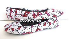 Flats made from Hello Kitty Fabric by DeckoFab on Etsy https://www.etsy.com/listing/399086301/flats-made-from-hello-kitty-fabric