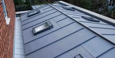 zinc-roof-panels Zinc Roof, Copper Roof, Metal Roof, Roof Styles, House Styles, Loft Conversion Plans, Ceramic Roof Tiles, Roof Cladding, Roof Extension
