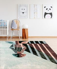 Hand knotted rug, New Zealand Merino Wool & Bamboo Silk/ x ft/ 140 x 175 cm/ designed by Josh Brill for Junior Monarch Best Weave, Baby Seal, Bamboo Crafts, Kids Decor, Home Decor, Hand Knotted Rugs, Rug Making, Vintage Designs, Knots