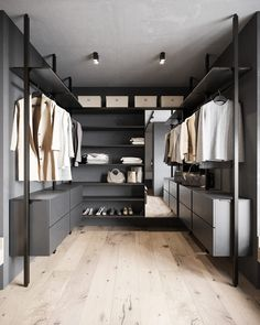 Wardrobe Room, Wardrobe Design Bedroom, Gray Dining Chairs, Dining Room Walls, Walk In Closet Design, Closet Designs, Interior Concept, Interior Design, Modern Home Office Desk