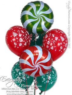 Pepermint Christmas Balloons by Everyday Flowers