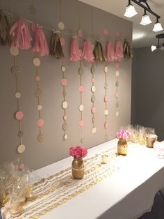 DIY set up for a pink and gold bridal shower :) …