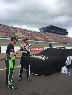 Dale & Jimmie pass time during the rain delay in Michigan! 6-14-15