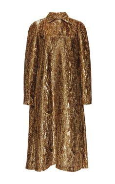 Gold Brushed Velvet Trapeze Shirt Dress by Rochas - Moda Operandi