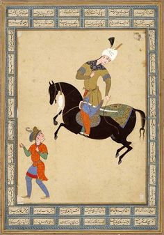 Attributed to Qadimi Persian (active 16th century) Horseman and Running Page (painting, verso; calligraphy, recto), folio from an album, c. 1560 Painting With Calligraphy Persian 16th century Safavid period, AH 907-1145 / AD 1501-1732 Creation Place: Mashhad, Iran Ink, opaque watercolor, gold and silver on paper sheet: 38.5 x 27 cm (15 3/16 x 10 5/8 in.) Harvard Art Museums