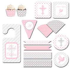 Pink and Grey Baptism Printable Party Kit Baptism Party, Girl Baptism, Baptism Ideas, Party Themes, Themed Parties, Party Ideas, Printable Party, Ideas Para Fiestas, Party Kit