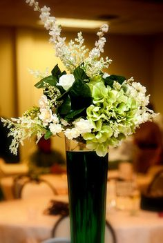 White and green centerpiece for a St. Patrick's Day Wedding