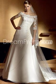 Fashion A-Line/Princess Off the Shoulder Chapel Train Pleats Bridal Wedding Dresses (3AA0404)