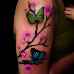 cherry blossom tattoo with butterfly