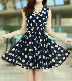 chic style ruffled polka dot print sleeveless chiffon dress for women Cheap Dresses, Latest Style Women's Dresses at Cheap Wholesale Prices Page 2 Pretty Outfits, Pretty Dresses, Beautiful Dresses, Cute Outfits, Dot Dress, Dress Up, Vetement Fashion, Business Outfit, Print Chiffon