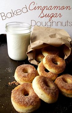 Baked Cinnamon Sugar Doughnuts http://www.lifewiththecrustcutoff.com/baked-cinnamon-sugar-doughnuts/ #recipe #doughnuts #baked