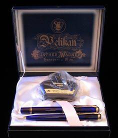 PELIKAN LE Blue Demonstrator Gunther Wagner Fountain - Pen Set MINT   eBay
