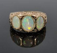 Rose Gold Victorian Ring with Three Fine Opals by MS Jewelers.