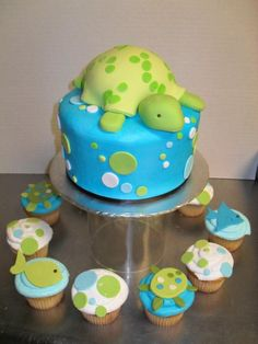 Turtle baby shower cake and ocean themed cupcakes Baby Shower Cakes, Baby Shower Parties, Baby Shower Themes, Baby Boy Shower, Shower Ideas, Cute Cakes, Pretty Cakes, My Dream Cake, Baby Turtles