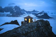 The Don Shelton Mountain House (Hut), located on a peak with a spectacular view of Ruth Glacier and the surrounding Denali National Park. Don was a legendary master bush glacier pilot and explorer. | by Chris Burkard/Massif via National Geographic Traveler