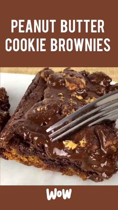 Peanut Butter Cookie Chocolate Brownies - Chocolate Recipes - This HEAVENLY mixture of Peanut Butter, Chocolate Chip Cookies and Brownies is irresistible! Best Dessert Recipes, Fun Desserts, Sweet Recipes, Recipes Dinner, Chocolate Chip Cookie Dough, Brownie Cookies, Homemade Chocolate, Chocolate Desserts, Chocolate Cake