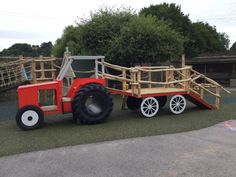 We created a themed playground at Moss Lane School in Godalming that incorporates a miniature replica, a tractor, and a playhouse. Backyard Fort, Kids Backyard Playground, Playground Design, Backyard For Kids, Backyard Games, Backyard Projects, Outdoor Projects, Outdoor Games, Playground Ideas