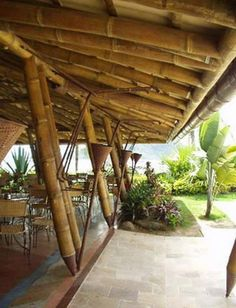 Bamboo Art, Bamboo Crafts, Bamboo House Design, Bamboo Structure, Bamboo Construction, Bamboo Architecture, Tropical Houses, House In The Woods, Landscape Design
