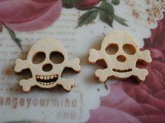 Holzknöpfe - 25 Stück Totenkopf Piraten Knöpfe Kinderknöpfe - ein Designerstück…