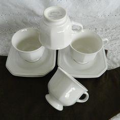 Vintage 8 Pc Set Mikasa Continental White F3000 Flat Cups & Saucer Plates 7 Oz #Mikasa