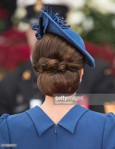 Catherine Duchess of Cambridge hair detail attends the Official Welcome Ceremony for the Royal Tour at the British Columbia Legislature on September...