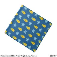 Shop Pineapples and Blue Floral Tropical Pattern Blue Bandana created by DipsyLou.