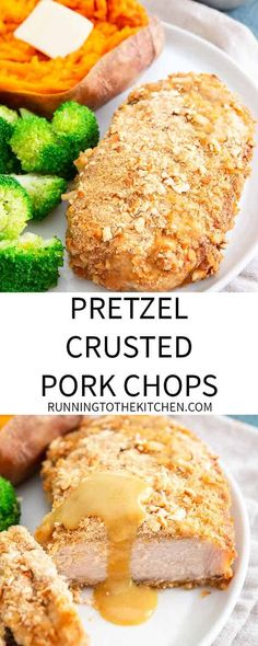 These baked pretzel crusted pork chops with an easy maple dijon sauce are an easy and healthy dinner packed with lean protein. These baked pretzel crusted pork chops with an easy maple dijon sauce are an easy and healthy dinner packed with lean protein. Pork Recipes For Dinner, Pork Chop Recipes, Kitchen Recipes, Cooking Recipes, Baked Pretzels, Easy Vegetable Side Dishes, Slow Cooker Balsamic Chicken, Pretzel Crust, Fitness Models