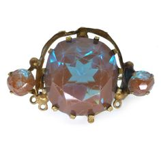Vintage Edwardian Large Saphiret Faceted Glass Stone Pin Brooch   Clarice Jewellery   Vintage Costume Jewellery