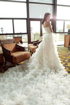 Ruffles Monarch Train Wedding Dress
