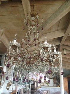 Gorgeous lavender prisms Italian chandelier