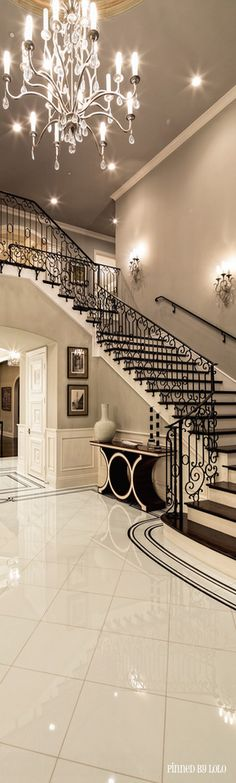 A great combo of traditional & modern elegant ~staircase