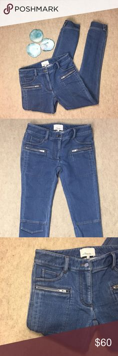 """3.1 Phillip Lim Cargo Jogger Moto Style Jeans 3.1 Phillip Lim Medium Wash Cargo Jogger Moto Style Jeans with Zipper Detail. Size 2 Gently used, no flaws  Approximate measurements: Waist--14.5"""" Rise--8"""" Inseam--30"""" 3.1 Phillip Lim Jeans"""