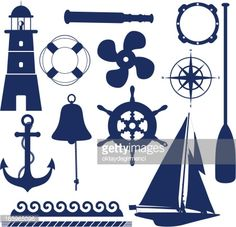 ... Set of blue nautical and maritime themed icons ...