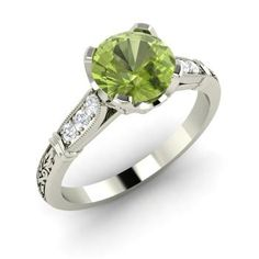 Round Peridot Ring in Sterling Silver with SI Diamond
