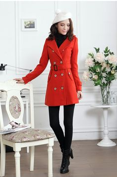 Korean Fashion Lapel Double-Breasted Thicker Woolen Coat
