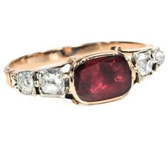 Vintage Georgian Garnet and Diamond Ring