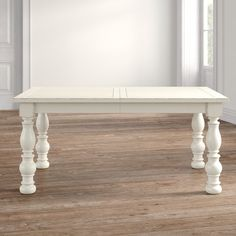 Kelly Clarkson Home Sylvan Extendable Dining Table & Reviews | Wayfair Chunky Dining Table, White Dining Room Table, White Farmhouse Table, Rectangle Dining Table, Solid Wood Dining Chairs, Extendable Dining Table, Dining Table In Kitchen, Dining Room Sets, Dining Tables