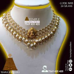 Temple Jewellers is about Gold Jewellery with 916 KDM Hallmark Gold, with Lowest Wastage: Light Weight Pearl Necklace Pearl Necklace Designs, Gold Earrings Designs, Gold Jewellery Design, Bead Jewellery, Beaded Jewelry, Necklace Set, Handmade Jewellery, Gold Designs, Craft Jewelry