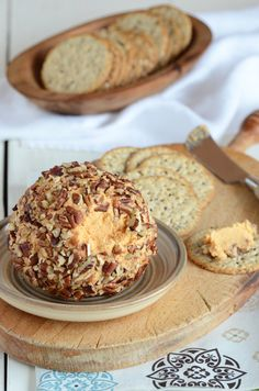 Cheddar Cheese Ball from An Edible Mosaic.  A winery that we visit has a cheddar cheese ball very similar to this.  It's a great thing to have at a party!