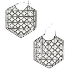 Pre-owned NWOT Tory Burch Silver Perforated Logo Hoop Earring and Dust... ($75) ❤ liked on Polyvore