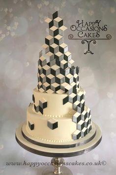 Geometric Wedding Design by Paul of Happy Occasions Cakes. - http://cakesdecor.com/cakes/299948-geometric-wedding-design