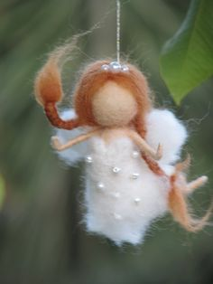 Needle felted fairy Christmas ornament home decor by Made4uByMagic