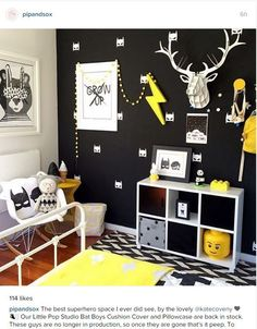 Boys room - black white and yellow....  See even more at the picture link