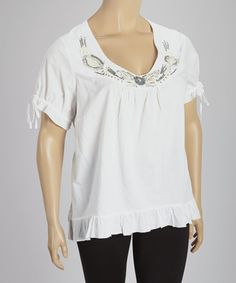 Look what I found on #zulily! White Ruffle Embellished Scoop Neck Top - Plus #zulilyfinds