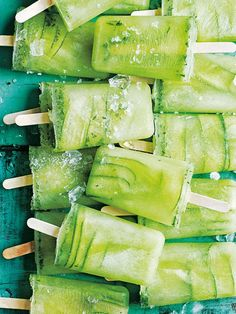 cucumber, lime and mint popsicles from donna hay fresh + light issue #3
