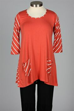 inside out - Lucy Tunic - Salmon & White