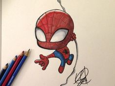 Chibi SpiderMan Marker by Stéphanie Forbes on Dribbble Spiderman Chibi, Spiderman Cute, Spiderman Tattoo, Spiderman Drawing, Chibi Marvel, Marvel Art, Chibi Superhero, Emoji Drawings, Marvel Drawings